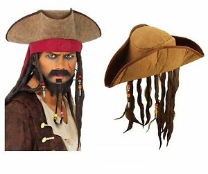 ADULT PIRATE HAT WITH DREADLOCKS Hair Caribbean Pirate Fancy Dress ... 02ac2a2d68ba