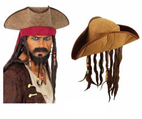 ADULT PIRATE HAT WITH DREADLOCKS Hair Caribbean Pirate Fancy Dress