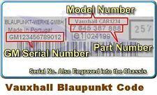 Vauxhall Opel Radio Code Unlock BLAUPUNKT ONLY- - - -
