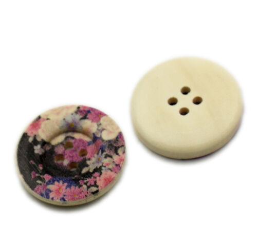 Pack de 6 en bois peint rose et noir classique boutons 25mm gratuit uk p/&p