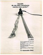 PUBLICITE  1970   DMC   les repassables  fermetures éclair
