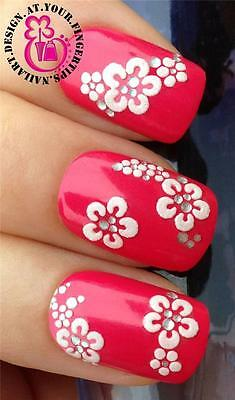 3D SELF ADHESIVE NAIL ART STICKER/DECALS/TRANSFER WHITE FLOWERS GEMS STYLE #533