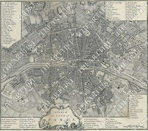 HUGE VINTAGE historic A PLAN OF THE CITY PARIS FRANCE 1800 OLD STYLE ...
