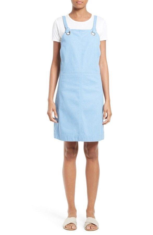 Rag & Bone Suffolk Pale Blau Denim Apron Dress Größe 4 W2723065R