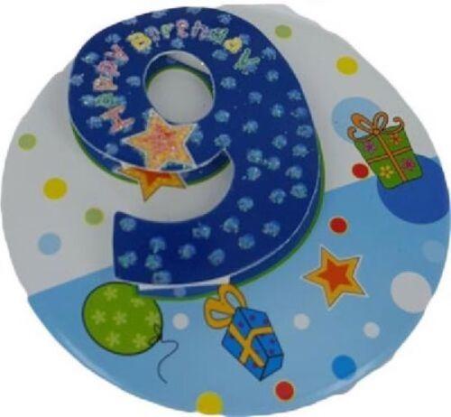 "6/"" JUMBO 3D BLUE GLITTER 9TH BIRTHDAY BADGE CHILD BOYS PARTY 9 TODAY SPOTS"