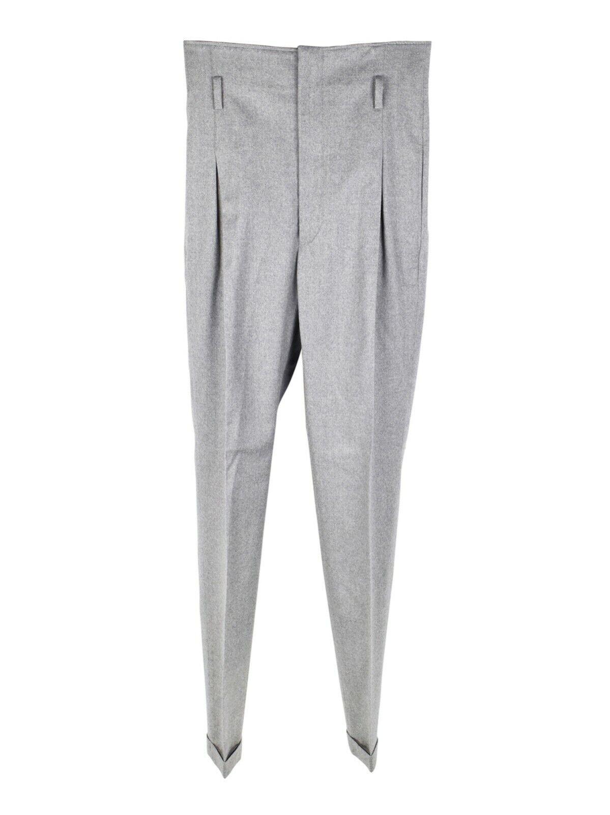 Jean Paul Gaultier skinny high-waist wool grey trousers