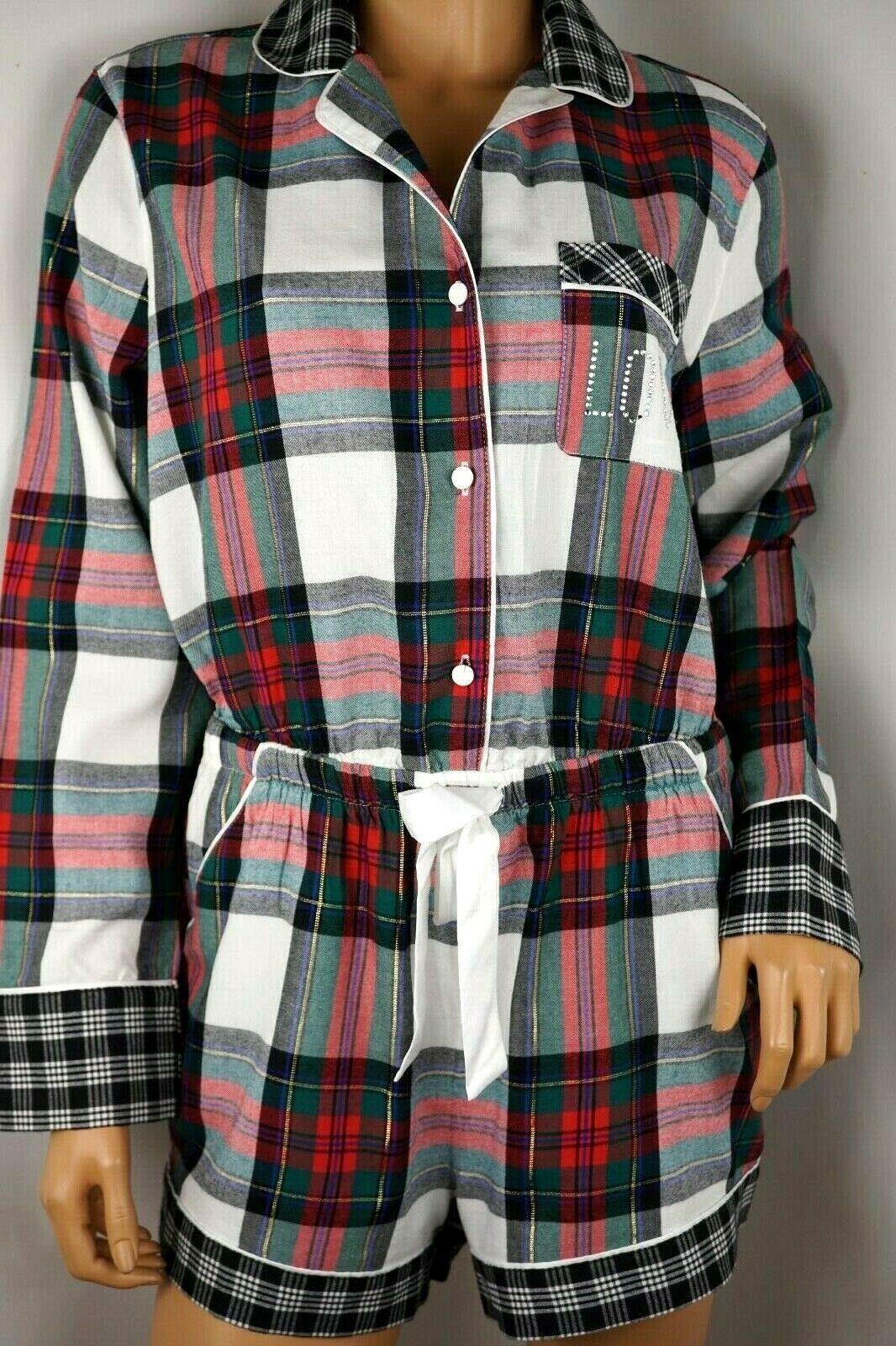 VICTORIA& 039;S SECRET Flanelle sommeil Ange Pajama Holiday Plaid Bling Logo S M