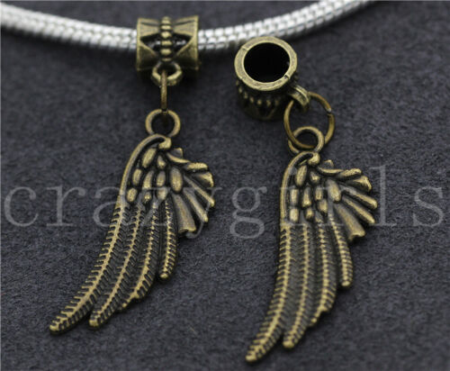 New 6//30//100pcs Antique Bronze Wing Bulk Lots Dangle European Charms Bracelet