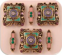2 Hole Beads Moroccan Style Purple & Teal Enamel Crystal Squares & Spacers Qty 6