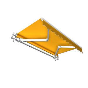 Markise-Sonnenschutz-Gelenkarmmarkise-Handkurbel-295x250cm-Gelb-Uni-B-Ware