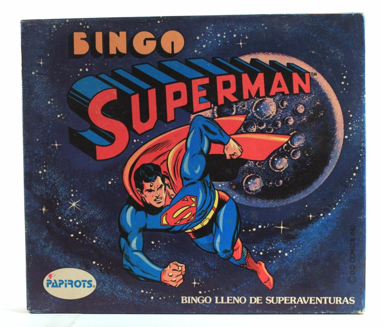 1980 Papirot SUPERMAN BINGO Spanish vintage game NEW & 100% COMPLETE w  figure