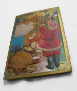 Antique-Santa-Claus-Christmas-Postcard-Embossed-Night-Before-Christmas-Series