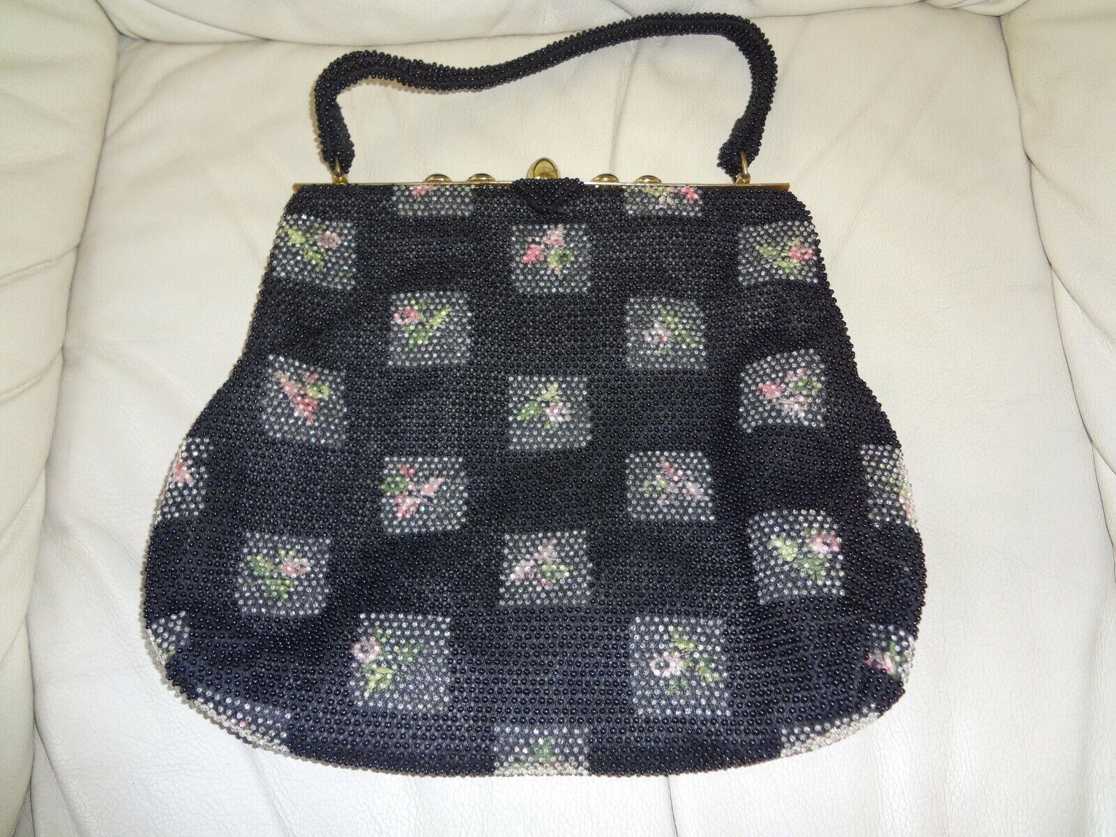 VTG From 1960's Lumured Black Petite Bead Corde Handbag Purse & Coin Wallet