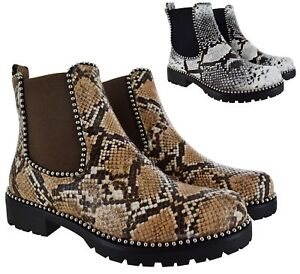 LADIES-WOMENS-CHELSEA-ANKLE-SNAKE-SKIN-STUDDED-LOW-HEEL-PUNK-CHUNKY-BOOTS-SHOES