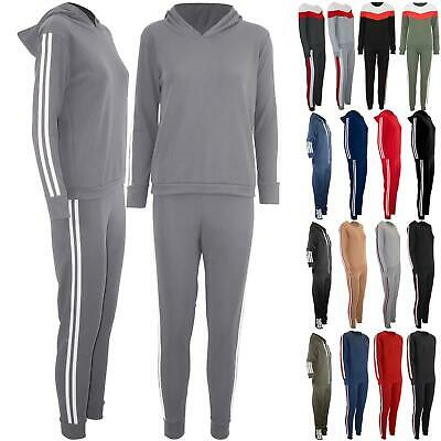 Oops Outlet Womens Ladies Tracksuit Sweatshirt Side Striped Top Pants Sport Suits 2 Piece