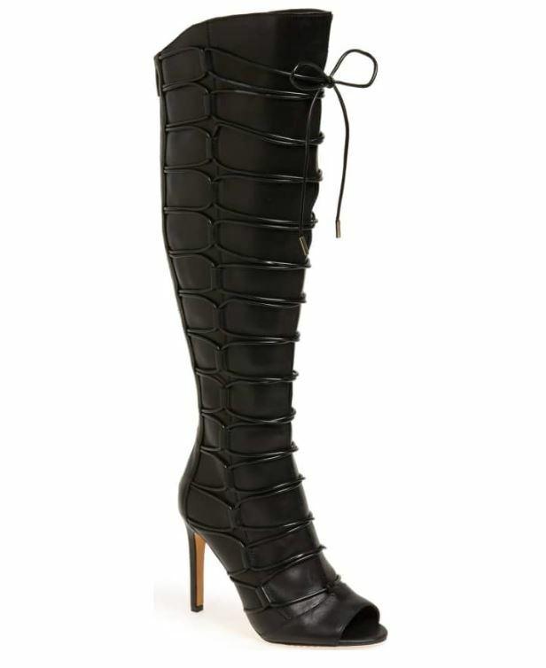 Vince Camuto Kesta Peep Toe nero Leather Knee High avvio 6, 7