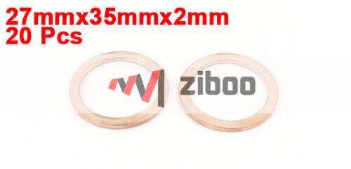 20Pcs 27 X 35 x2mm Cobre Juntas Arandela Plana Sujetadores Anillo de sello para la industria