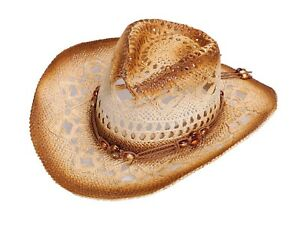 e91777328fd Women Men Vented Western Straw Shapeable Brim Cowgirl Hat for Strap ...
