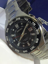MEN'S SEIKO KINETIC STAINLESS STEEL DIVER 100M WATCH  5M62-0AP0  NEW IN BOX $395