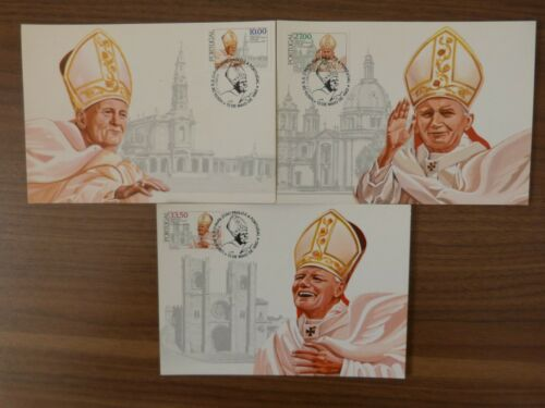 Private maximum card 1982 PORTUGAL 3x maxicard, maxi card POPE Papa complete set