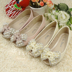 Girls-Pink-Or-Cream-Ballet-Formal-Casual-Shoe-With-Bow-Pearls-Dimante-039-s-Wedding