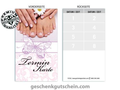 Pediküre Fußpflege FU782 med Maniküre Terminkarten für Nagelstudios