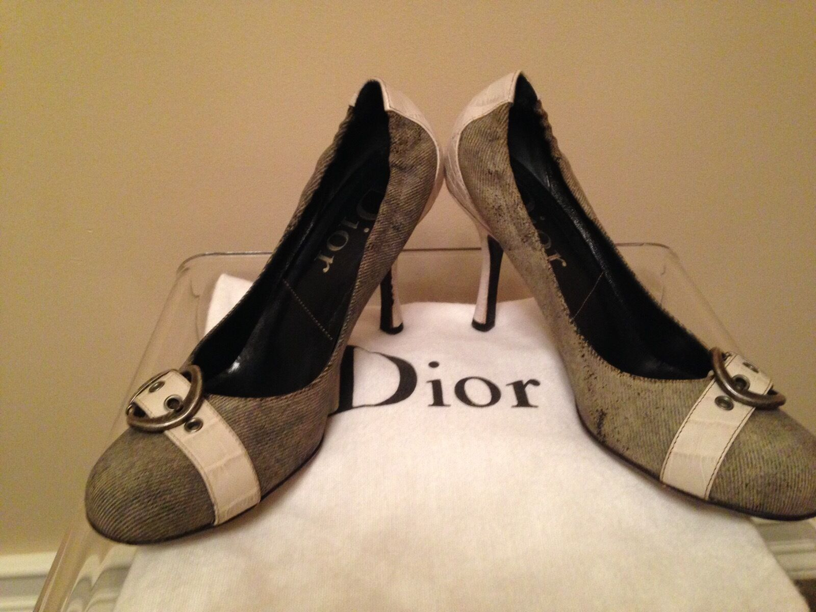 Dior designer pumps, denim and leather, Italian size 37 (run small) fits US 6