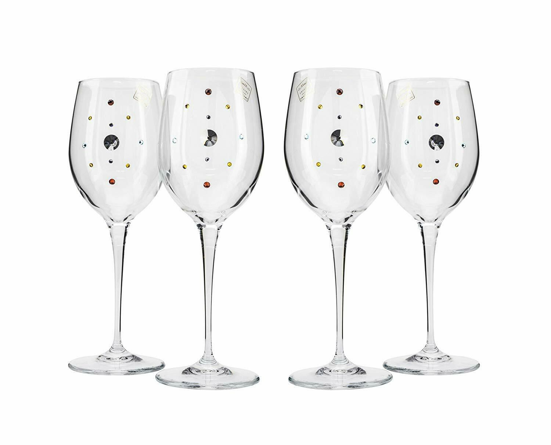 Italian Collection Wine Glasses Set, Multi-Couleur Swarovski Crystal, Lead Free