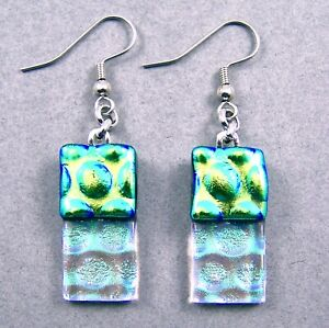 DICHROIC Glass EARRINGS Lime Green & Clear Rectangle Bubbles Dangle Surgical 1""