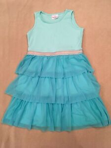 Hanna-Andersson-Fizzie-Dress-130-Girls-Turquoise-Silver