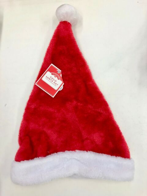 2e2bcd85c4119 Christmas Deluxe Red Plush Santa Hat White Faux Fur Trim Costume ...