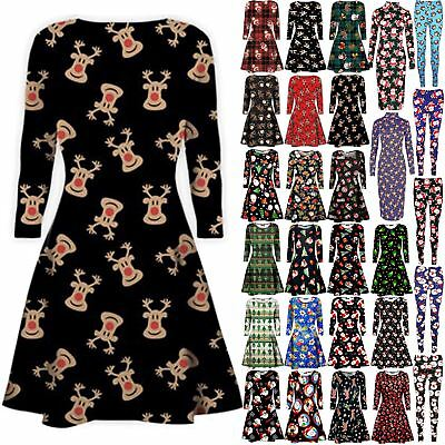 Womens Christmas Xmas Santa Rudolph Gift Present Ladies Legging Swing Mini Dress Die Nieren NäHren Und Rheuma Lindern
