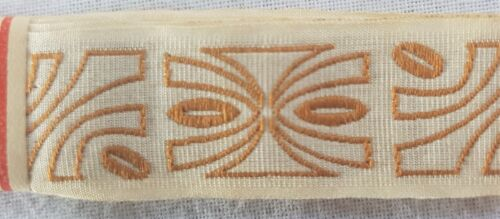 Vintage Samplers Gauze Trim w//Abstract Woven Design Camel French