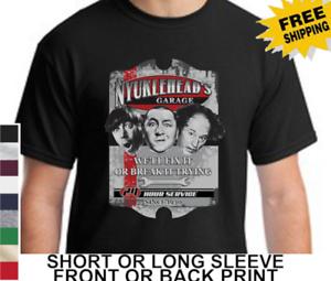 05adaa74 Three Stooges Funny Garage Larry Moe Curly Mens Short Or Long Sleeve ...