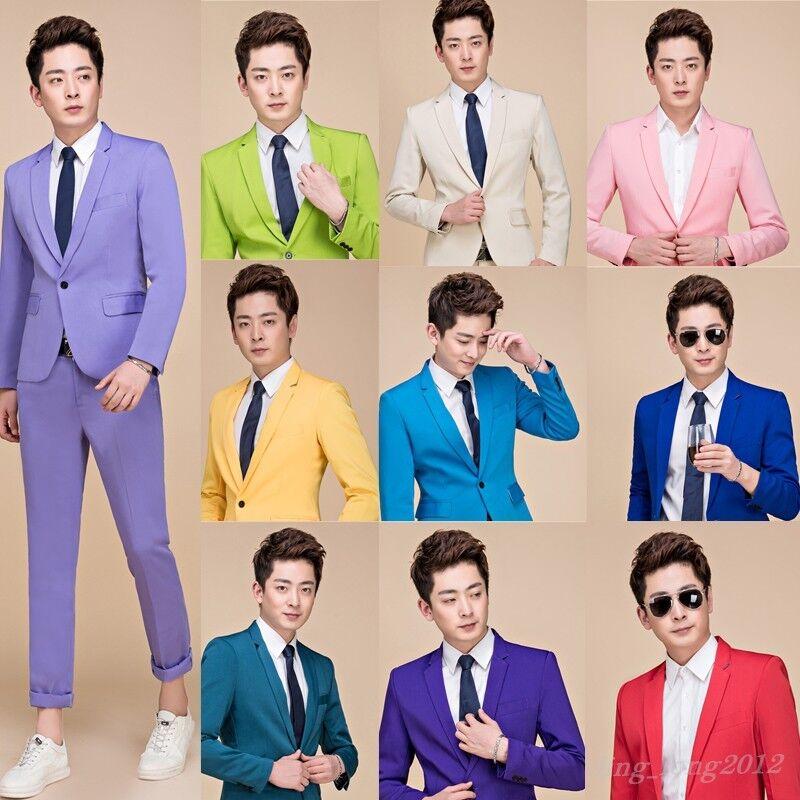 10 color Men Slim Fit Dress Formal Wedding Party 2PCS Coat Pant Suits Blazer SZ