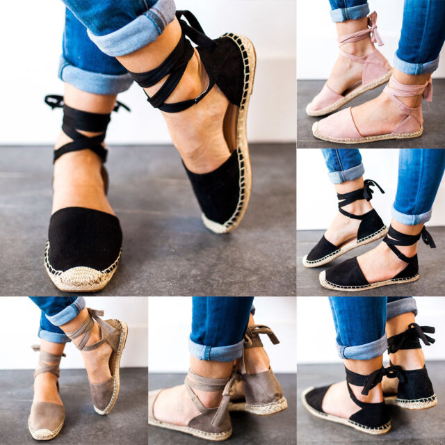 Women's Flat Lace Up Platform Espadrille Summer Sandals Wedge Ankle Shoes Size