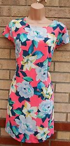 PRIMARK-LIGHT-BLUE-PINK-YELLOW-FLORAL-SILKY-FEEL-A-LINE-SMOCK-SHIFT-DRESS-10-S