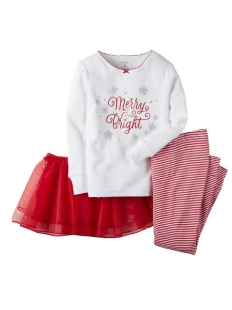 d4012f769 Carter s 3pc Infant Baby Girl Merry   Bright Set Outfit Tutu Xmas ...