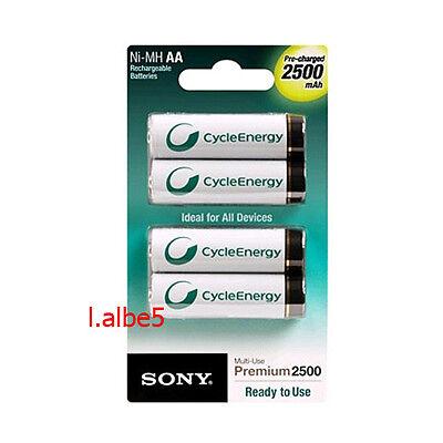 Sony Cycle Energy 2500mAh NH-AA-B4GN AAd Rechargeable Battery 4pcs