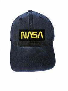 NASA-Black-and-Yellow-Logo-Adjustable-Curved-Bill-Strapback-Dad-Hat-Baseball-Cap