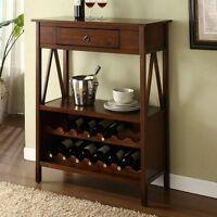 Brown One Drawer Wine Bottle Storage Cabinet Home Living Dining Furniture Den