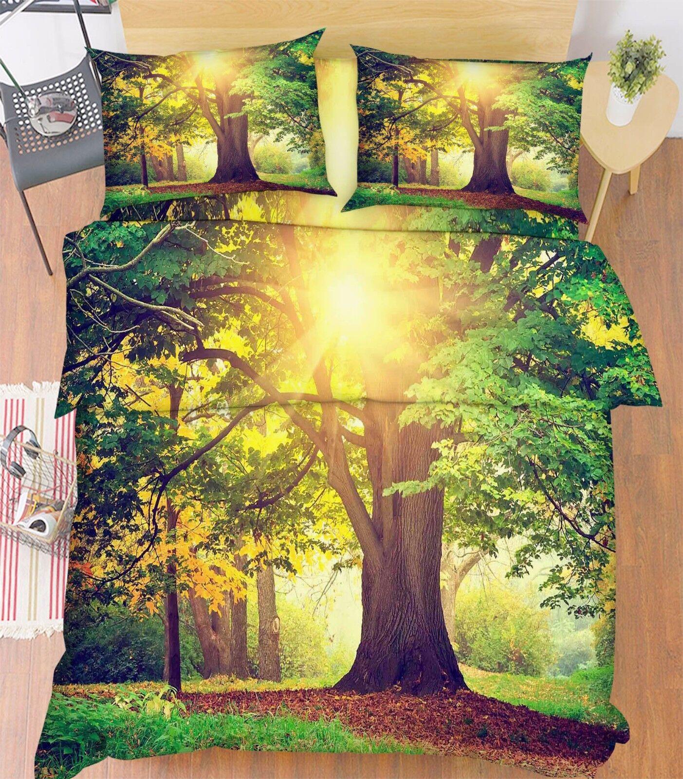 3D Tree Sunlight 86 Bed Pillowcases Quilt Duvet Cover Set Single Queen UK Kyra