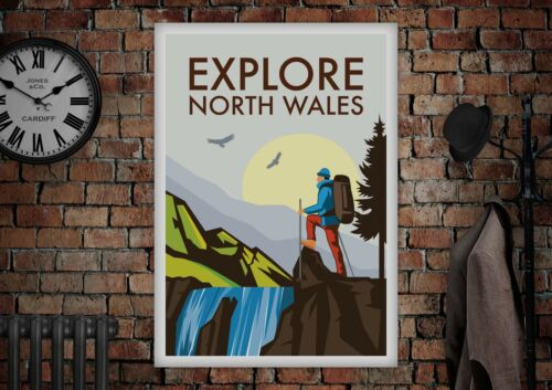 Large Vintage Style North Wales Snowdonia Holiday Advertising Poster A3 A2 A1 A0