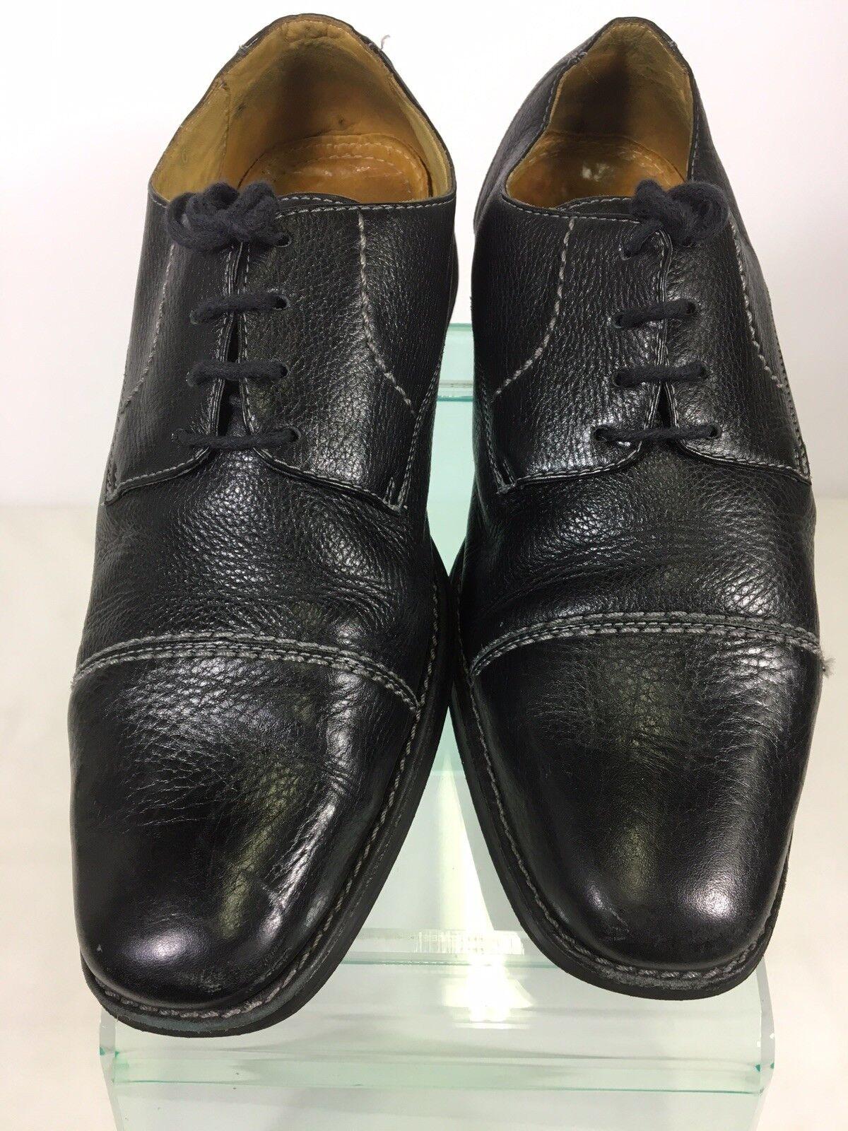 Sandro Moscoloni Mens Size 10.5 D Oxfords Black Dress shoes Cap Toe Square Toe