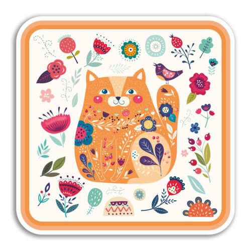 2 x 10 cm Ginger Cat Vinyle Autocollants-Chaton Fleurs Mignon Autocollant Ordinateur Portable #18304