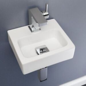 Terrific Details About Small Compact Tiny Bathroom Cloakroom Basin Sink Wall Hung Curved With Fixings Download Free Architecture Designs Grimeyleaguecom
