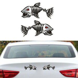 2pcs-Auto-3D-car-accessories-skeleton-shark-car-sticker-and-decal-go-fish