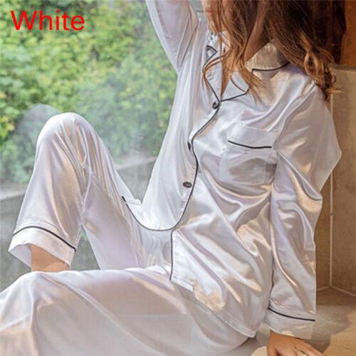 Pigiama in raso di seta adatta a camicia a maniche lunghe e pigiama da donna