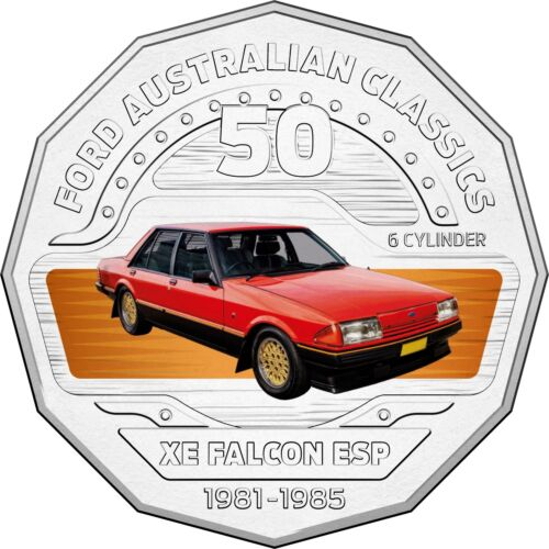 1982 XE Falcon ESP Classic Ford Car 2017 Australia 50c Coloured Unc Coin RAM