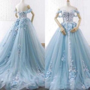 Details about Plus Size Wedding Dresses Sweetheart Off the Shoulder Light  Blue Bridal Gowns